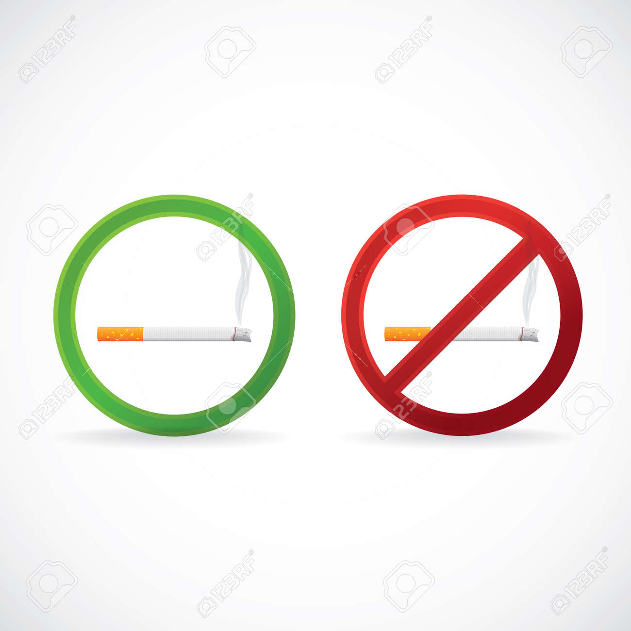 Smoking Allowed And No Smoking Stop Sign Symbol Illustration