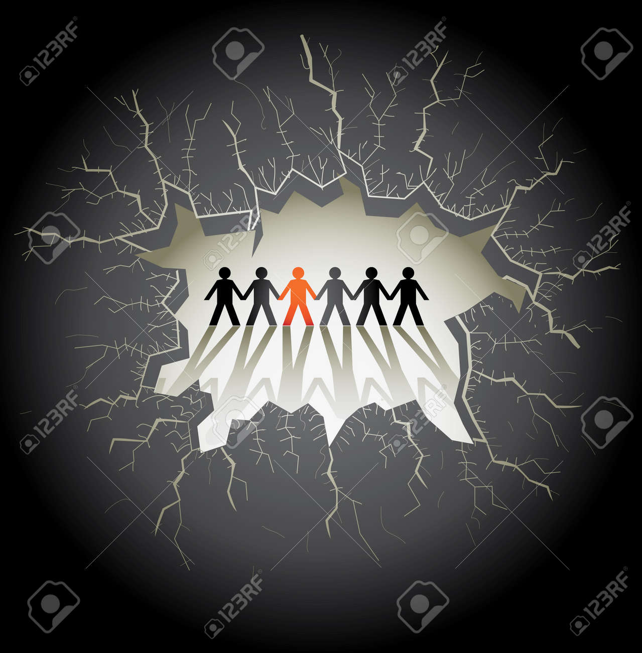 light hole with cracks on a dark background, illustration Stock Vector - 16857759