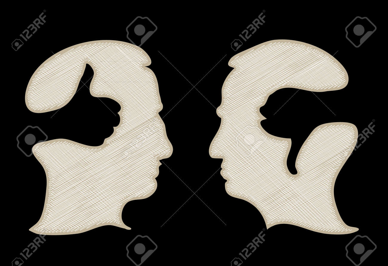 head with thumb up and thumbs down - illustration Stock Vector - 16857680