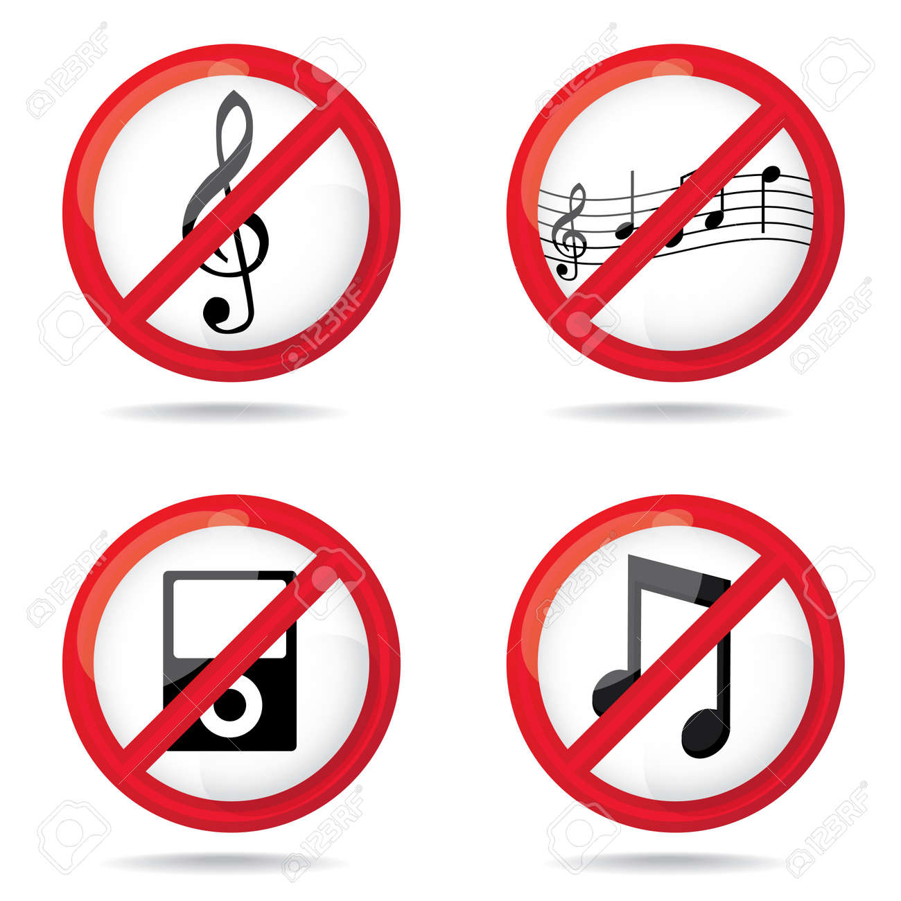 Set of not allowed music symbols illustration royalty free set of not allowed music symbols illustration stock vector 16857765 buycottarizona Gallery