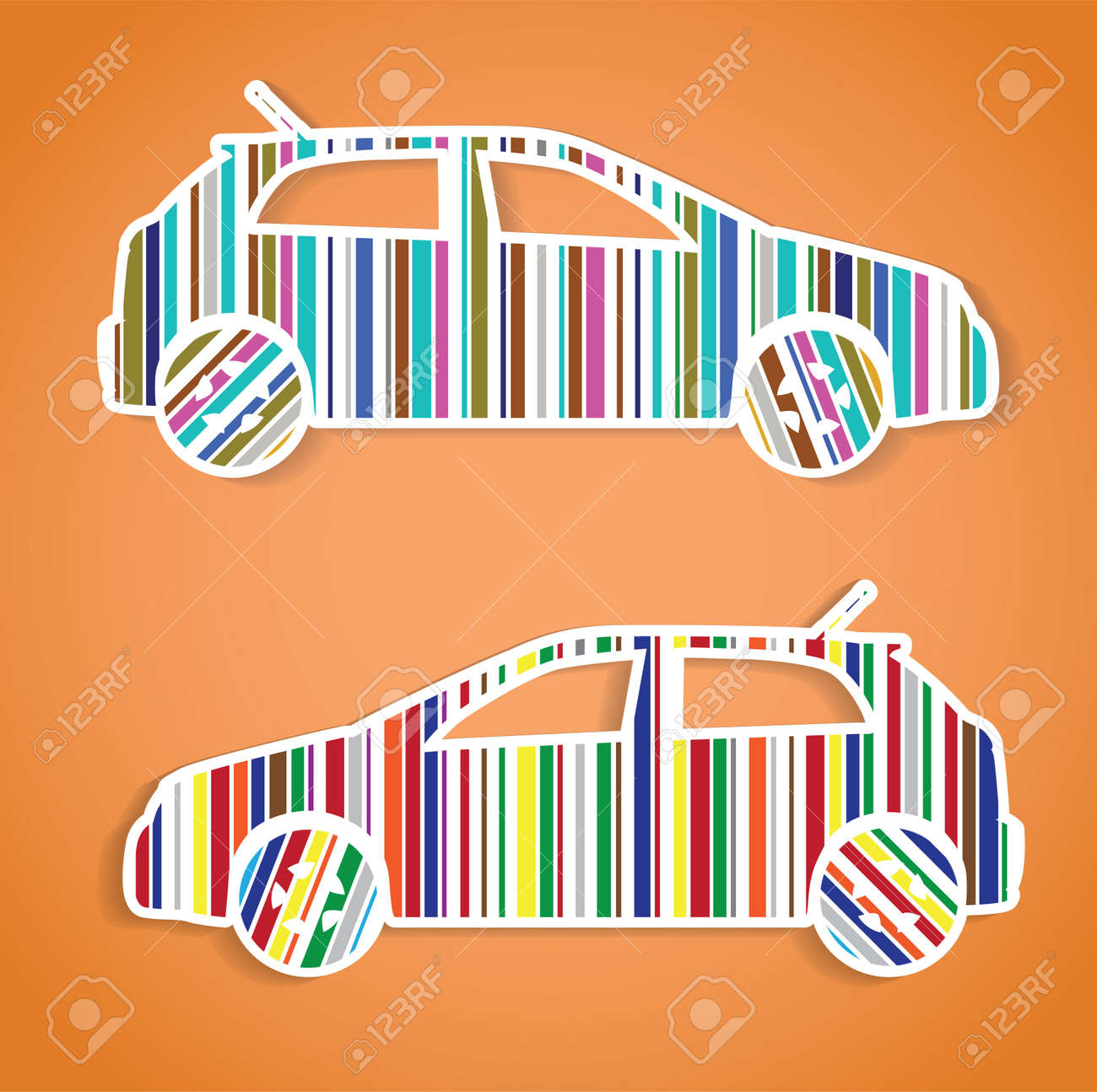 cars as color barcode, isolated illustration Stock Vector - 17181550