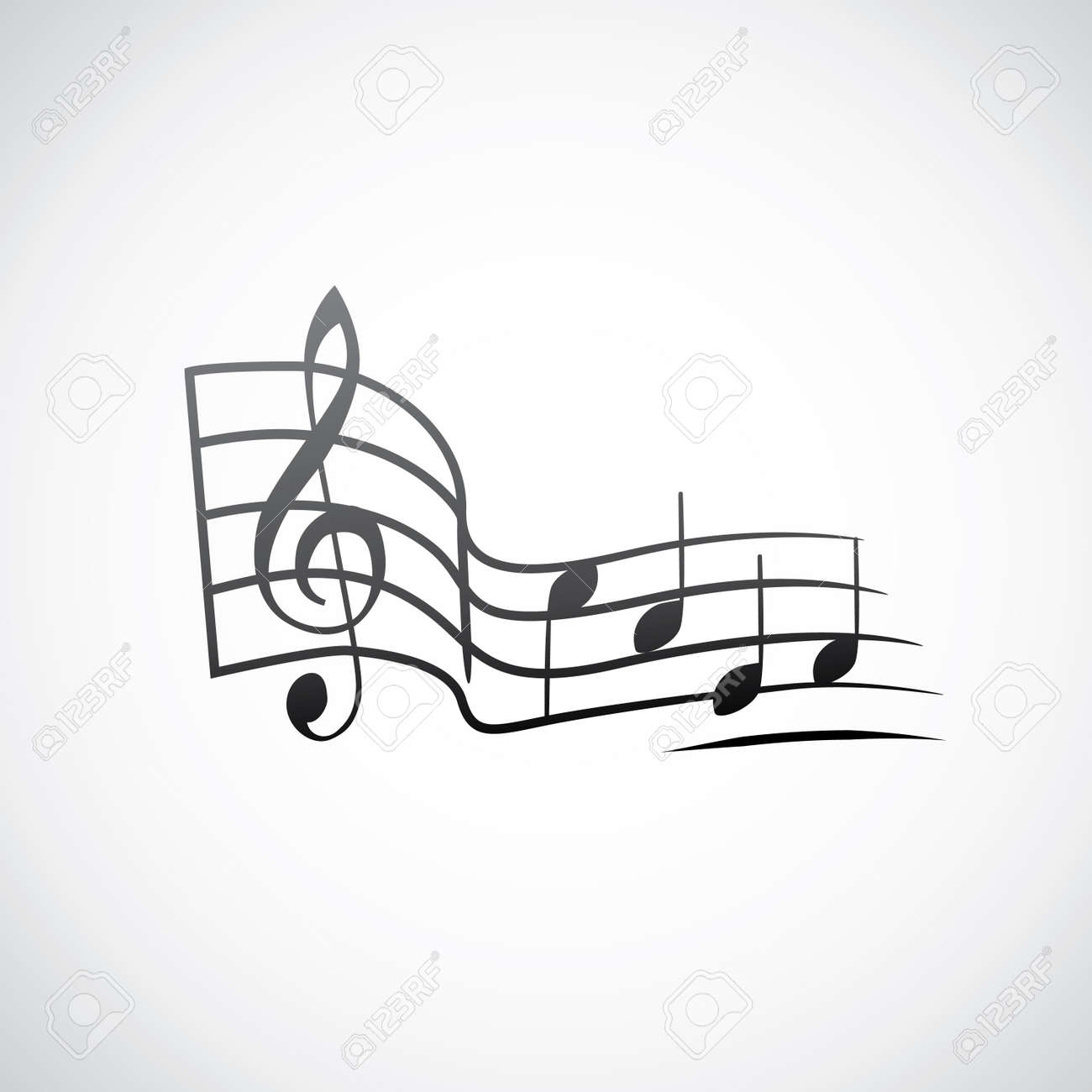 g key and notes in one tact logo - illustration Stock Vector - 17181485