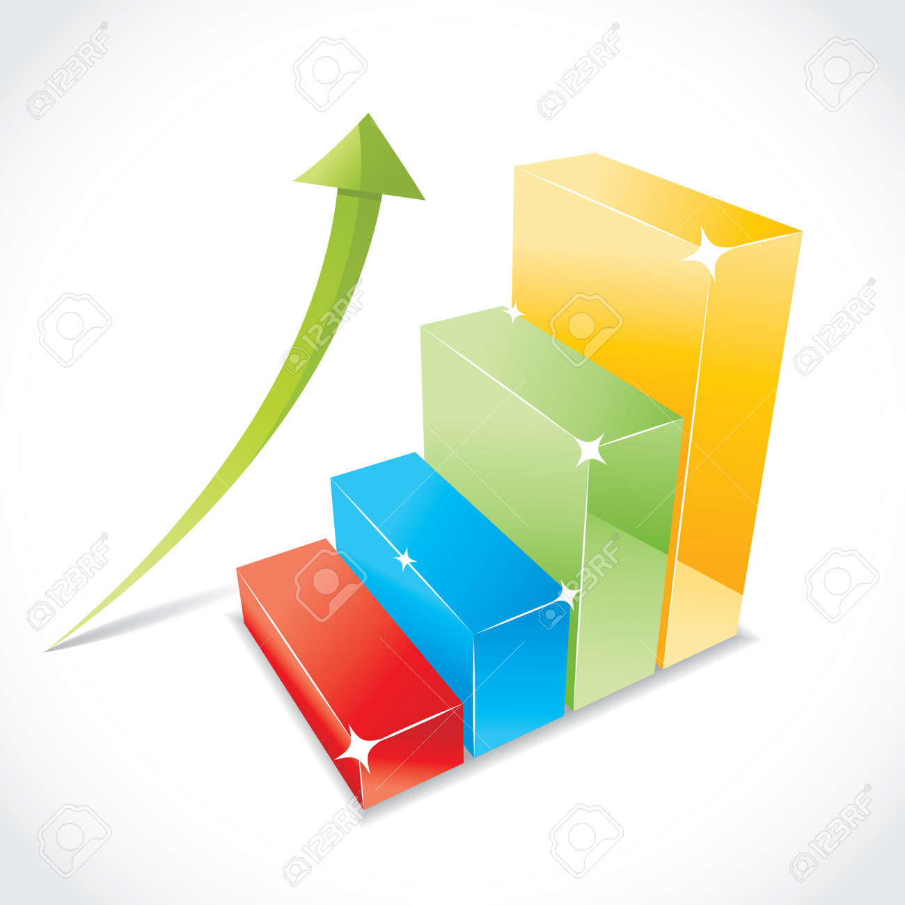 Business color graph with rising equity arrow, illustration Stock Vector - 17181488