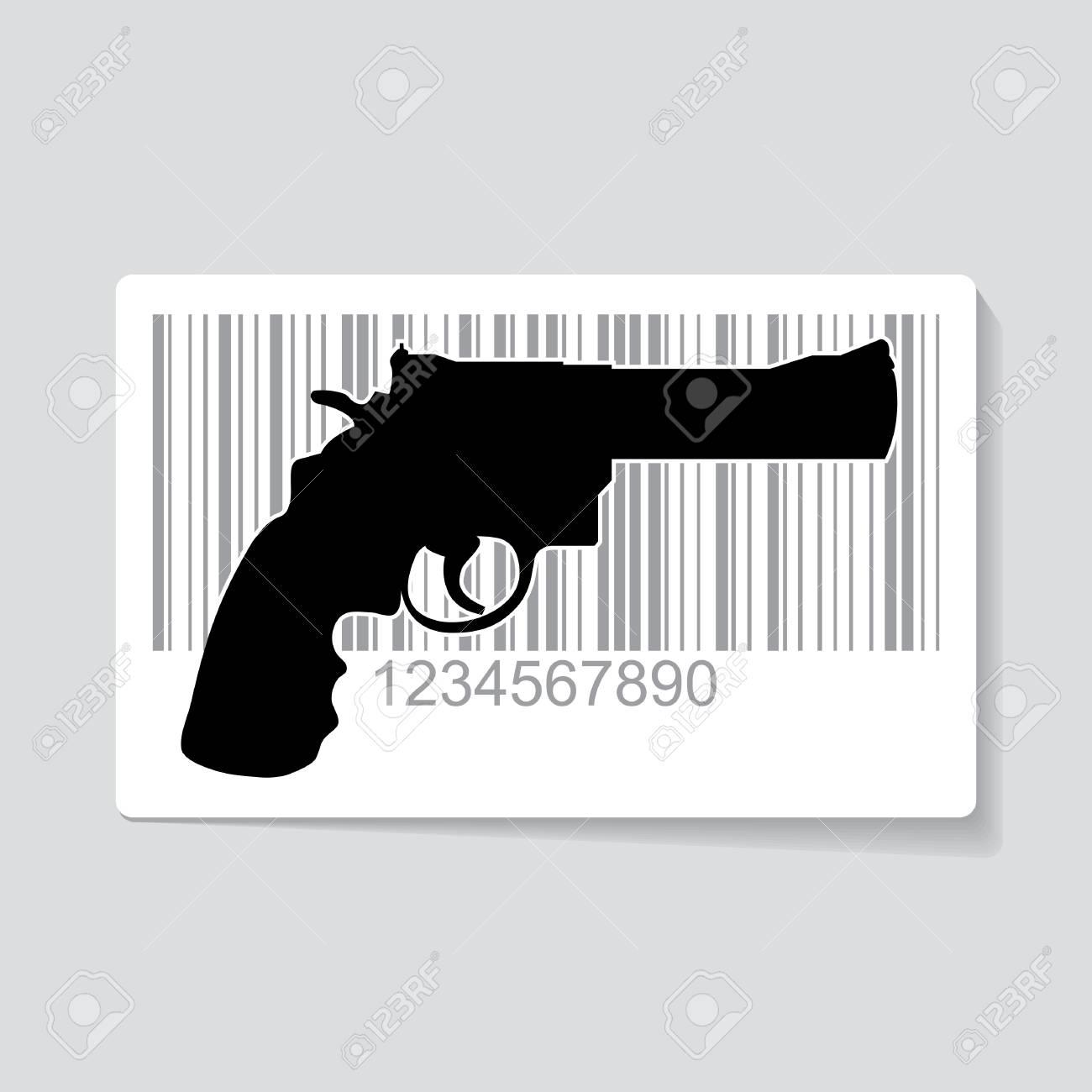 Gun as barcode symbol - illustration Stock Vector - 17181493