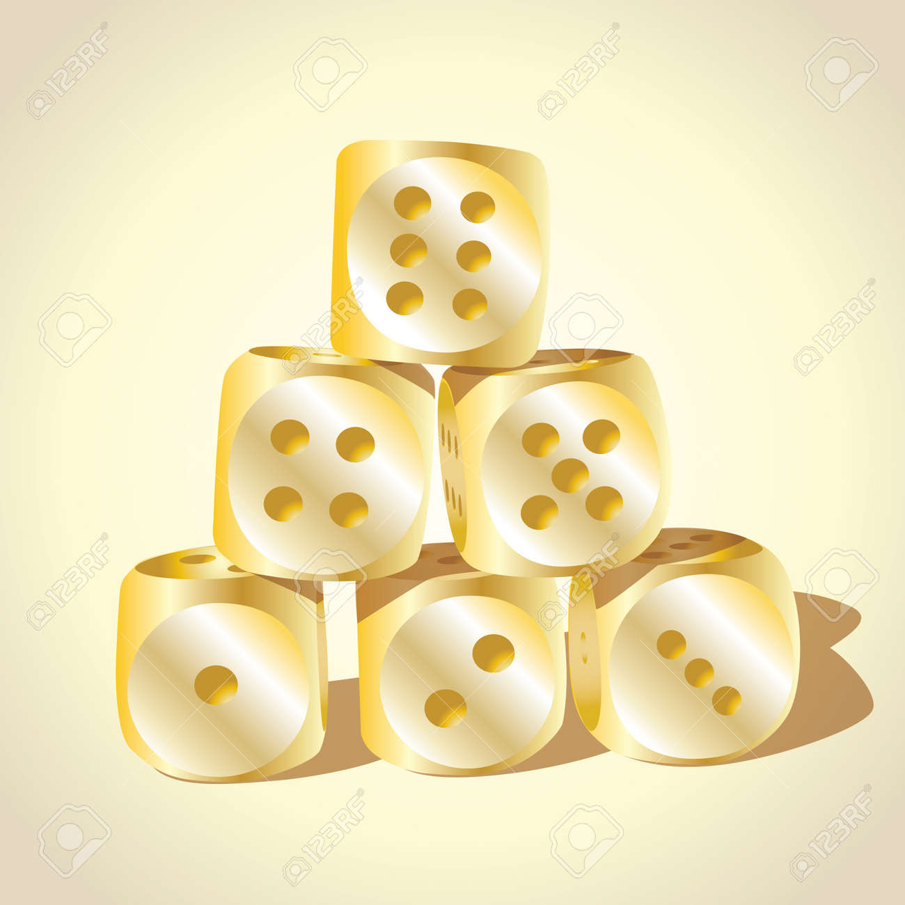 Six golden playing dices - illustration Stock Vector - 17181529