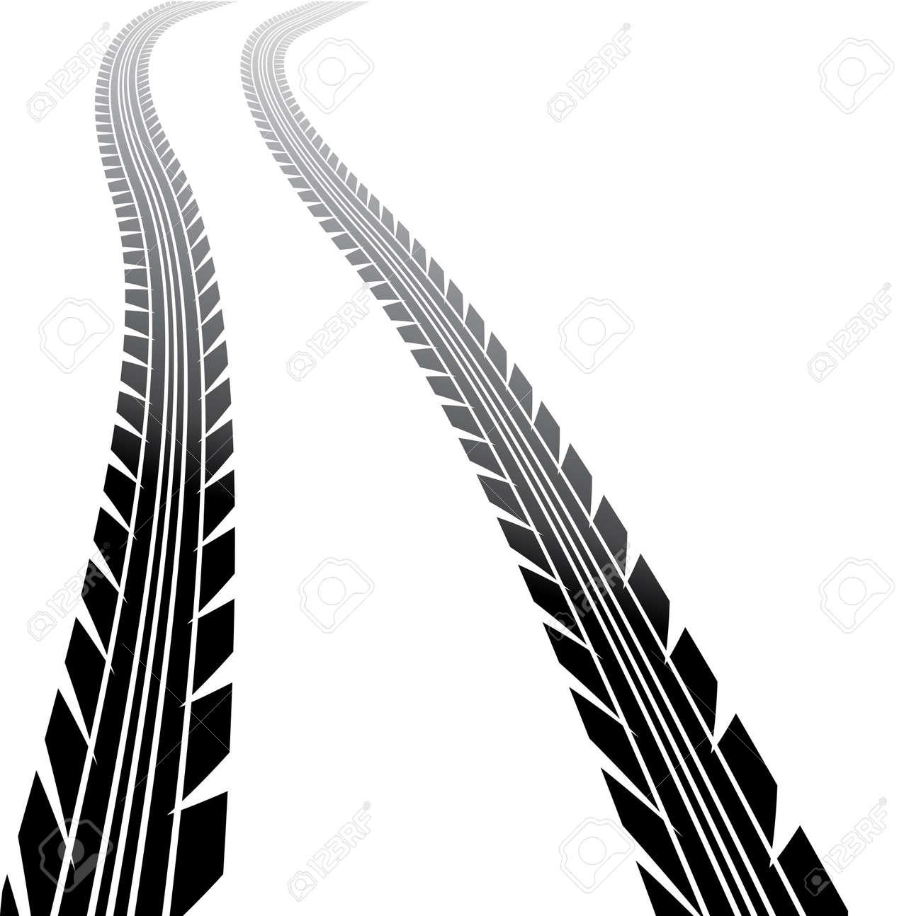 wheels track on white background, illustration Stock Vector - 17181530