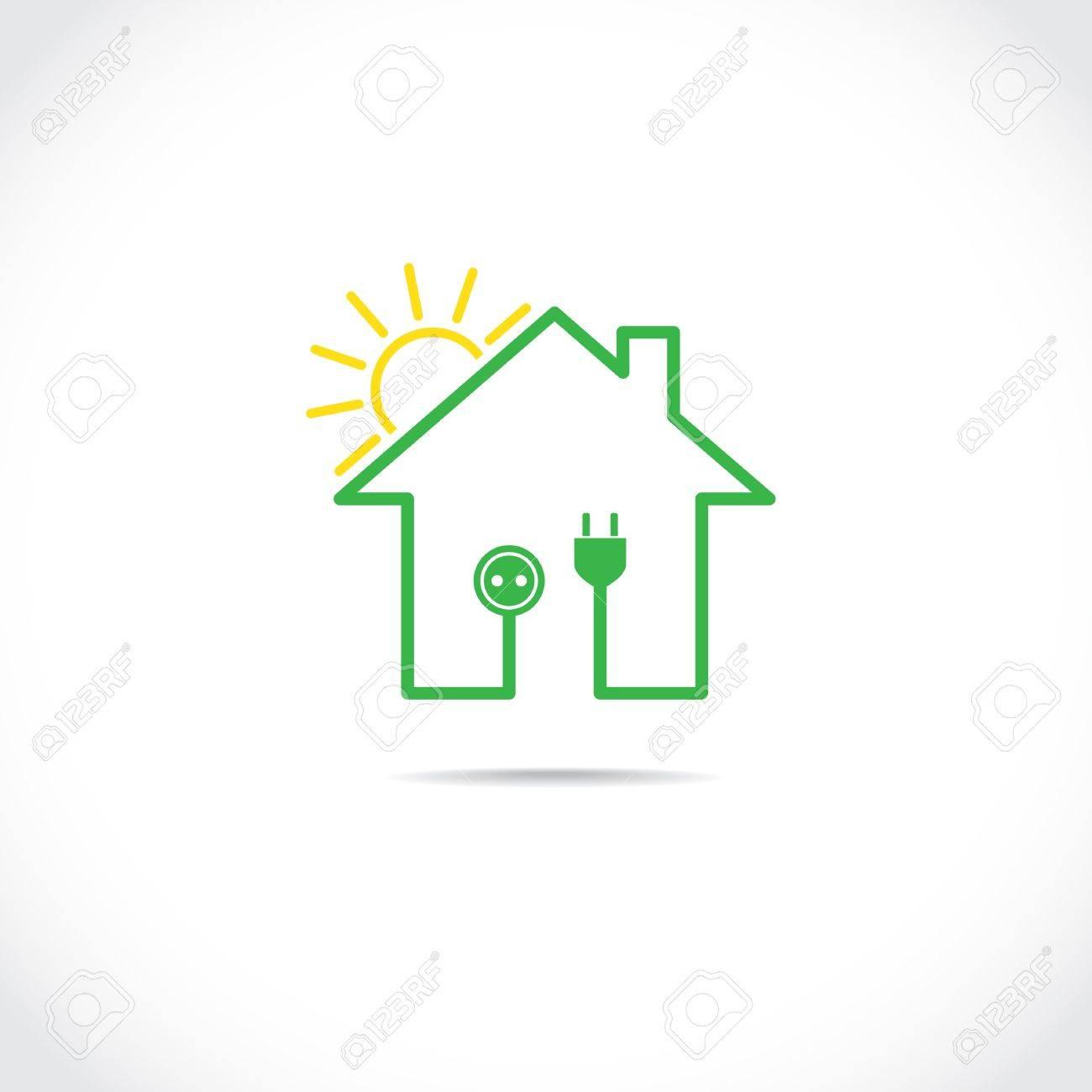 Circuito Electrico Simple : Casa símbolo como simple circuito eléctrico solar ilustración
