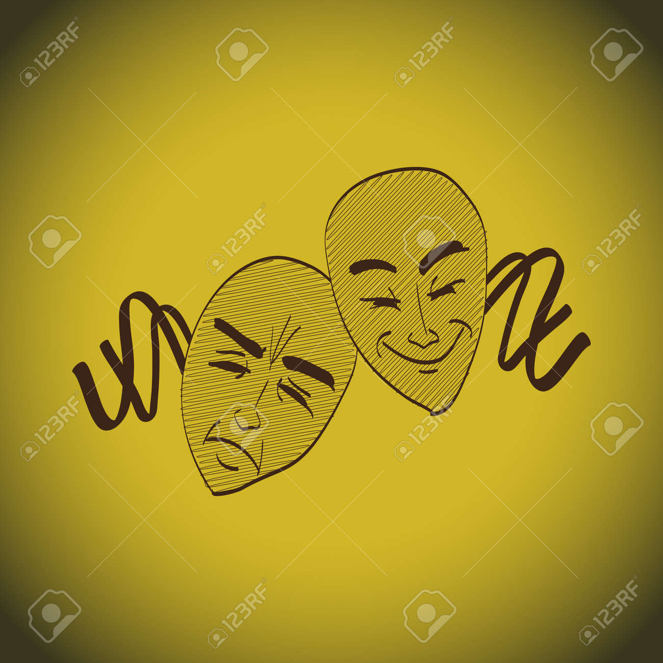 Theatre masks lucky and sad - illustration Stock Vector - 18403077