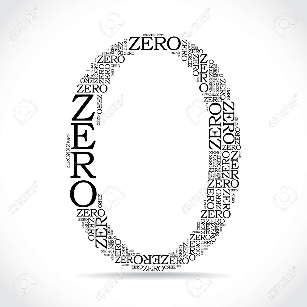 zero sign created from text illustration royalty free cliparts
