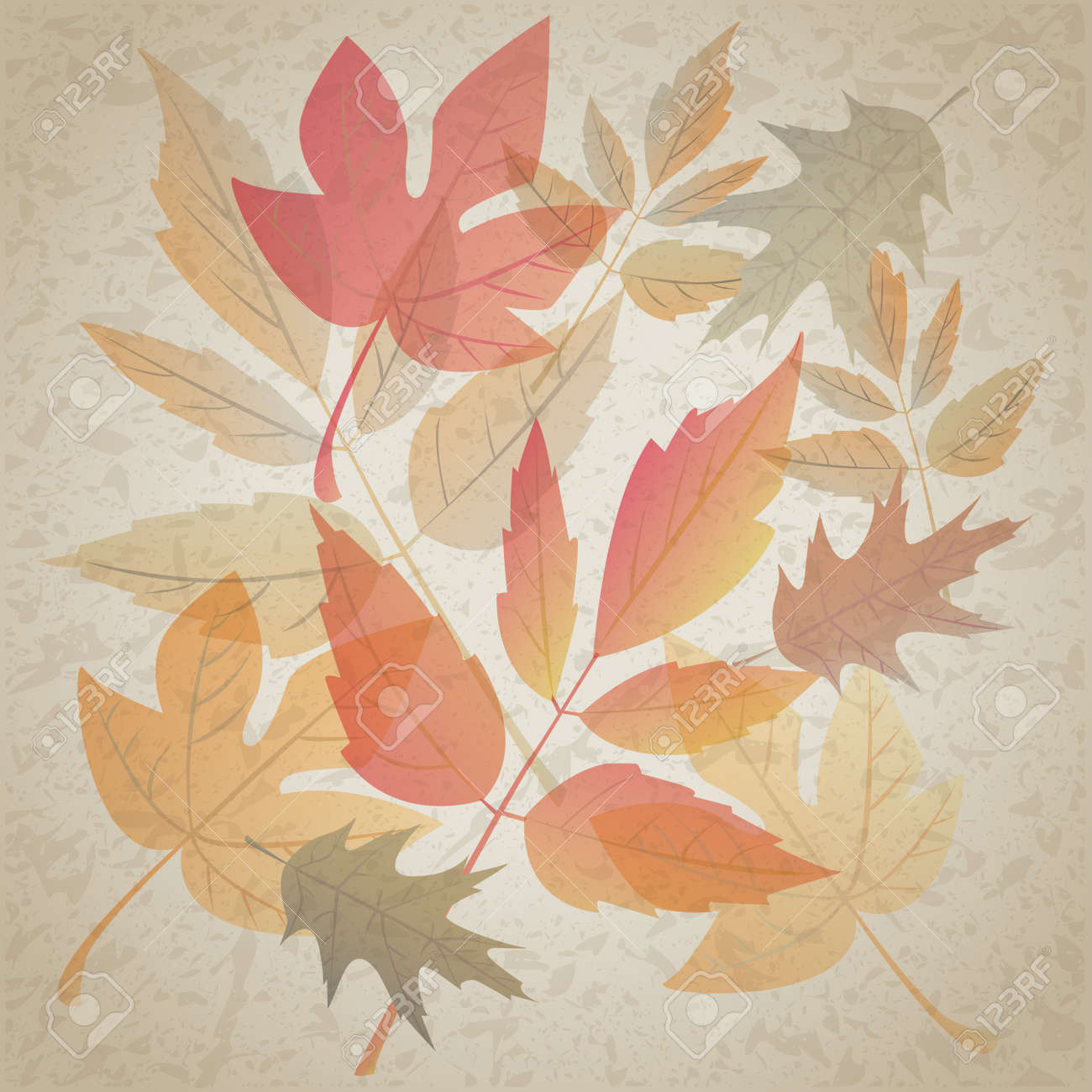 Autumn leafs on dirty grunge background Stock Vector - 20075059
