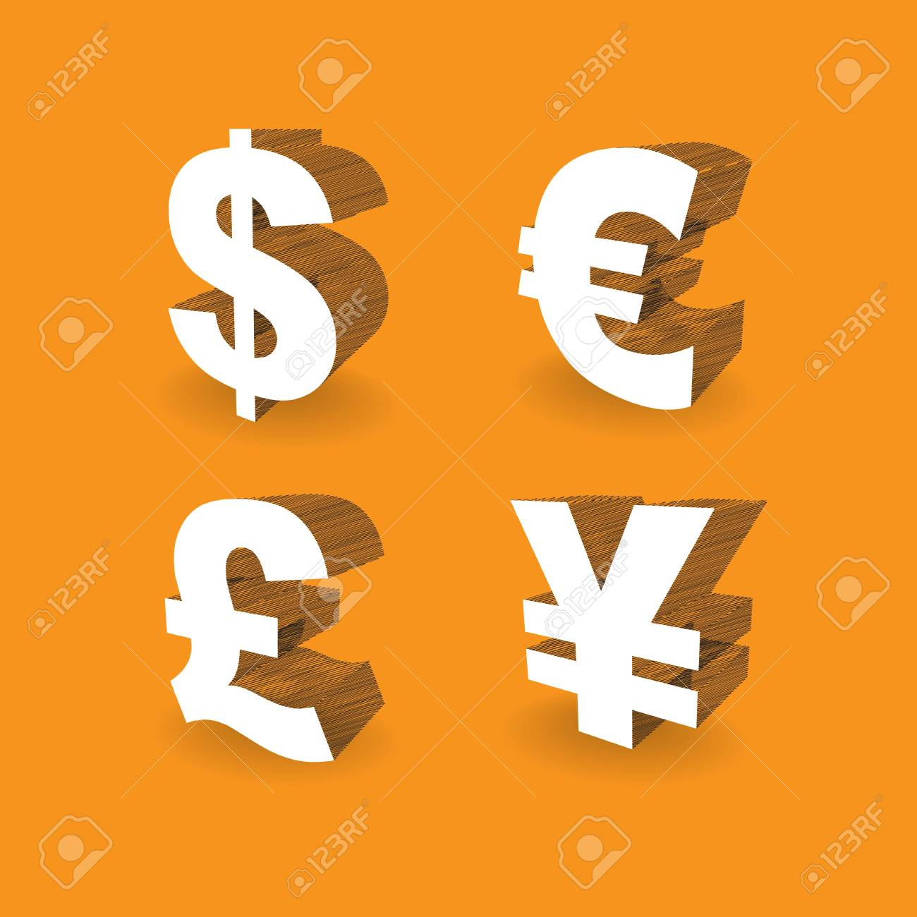 3d Currencies Symbols Dollar Pound Euro And Yen Illustration