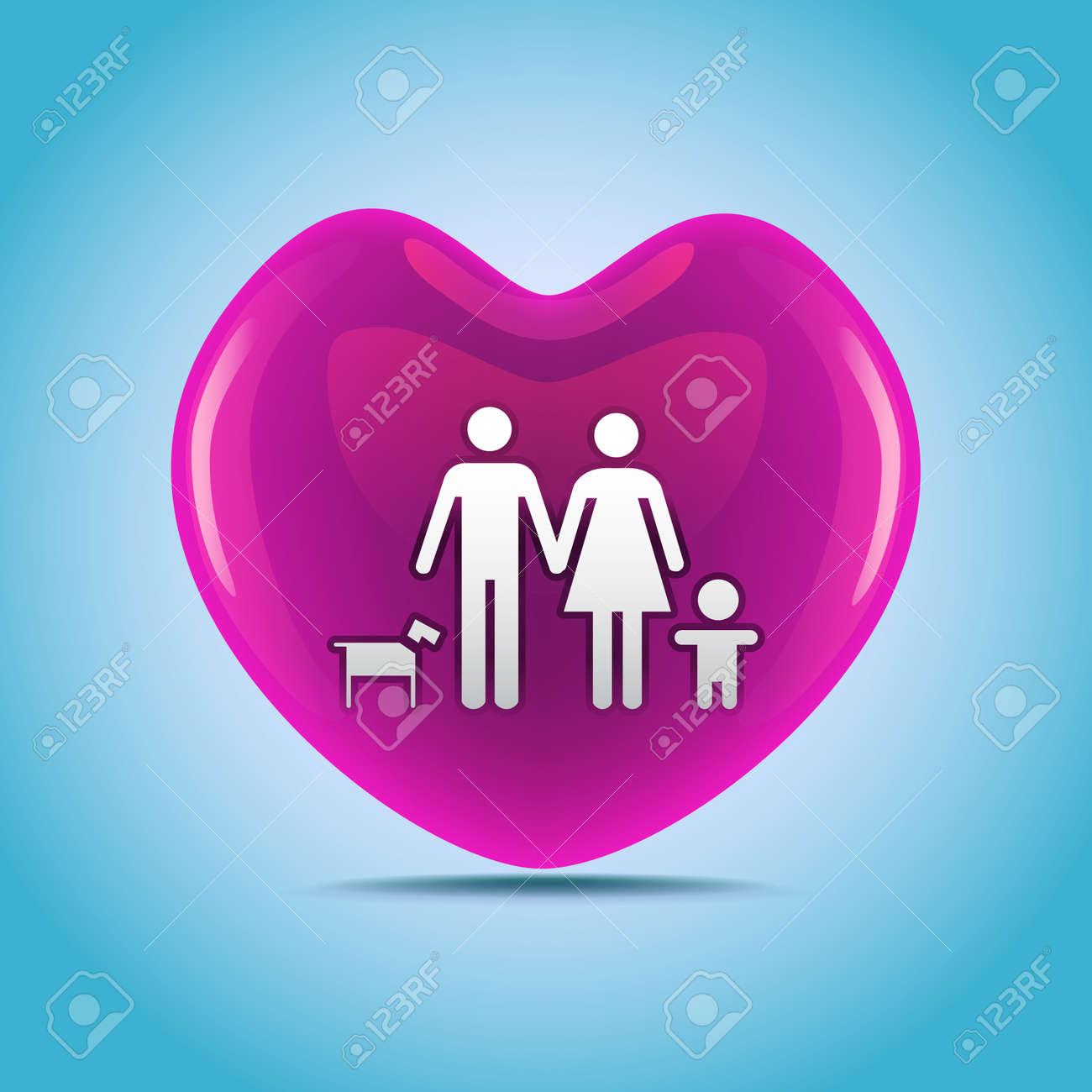 A basic family in big heart symbol illustration royalty free a basic family in big heart symbol illustration stock vector 22619780 buycottarizona Image collections