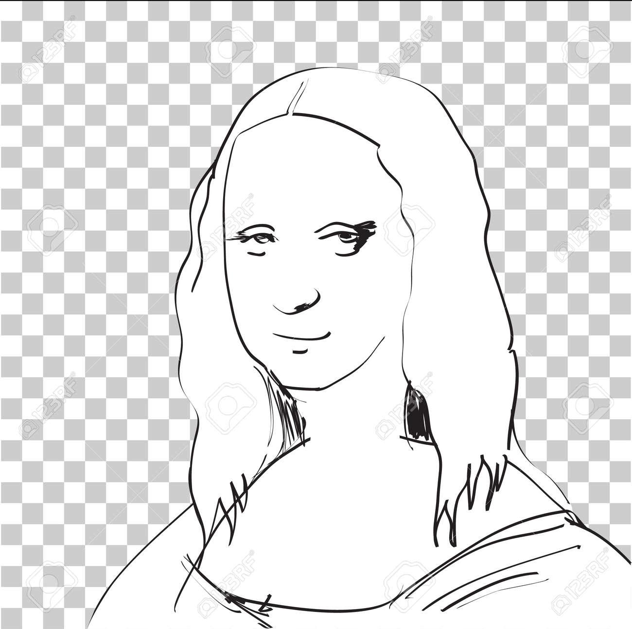 Mona Lisa Sketch in DTP window Stock Vector - 24912131