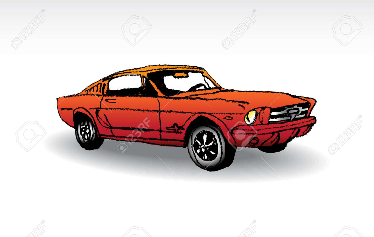 Oldtimer Red Ford Mustang 1965 Illustration Royalty Free