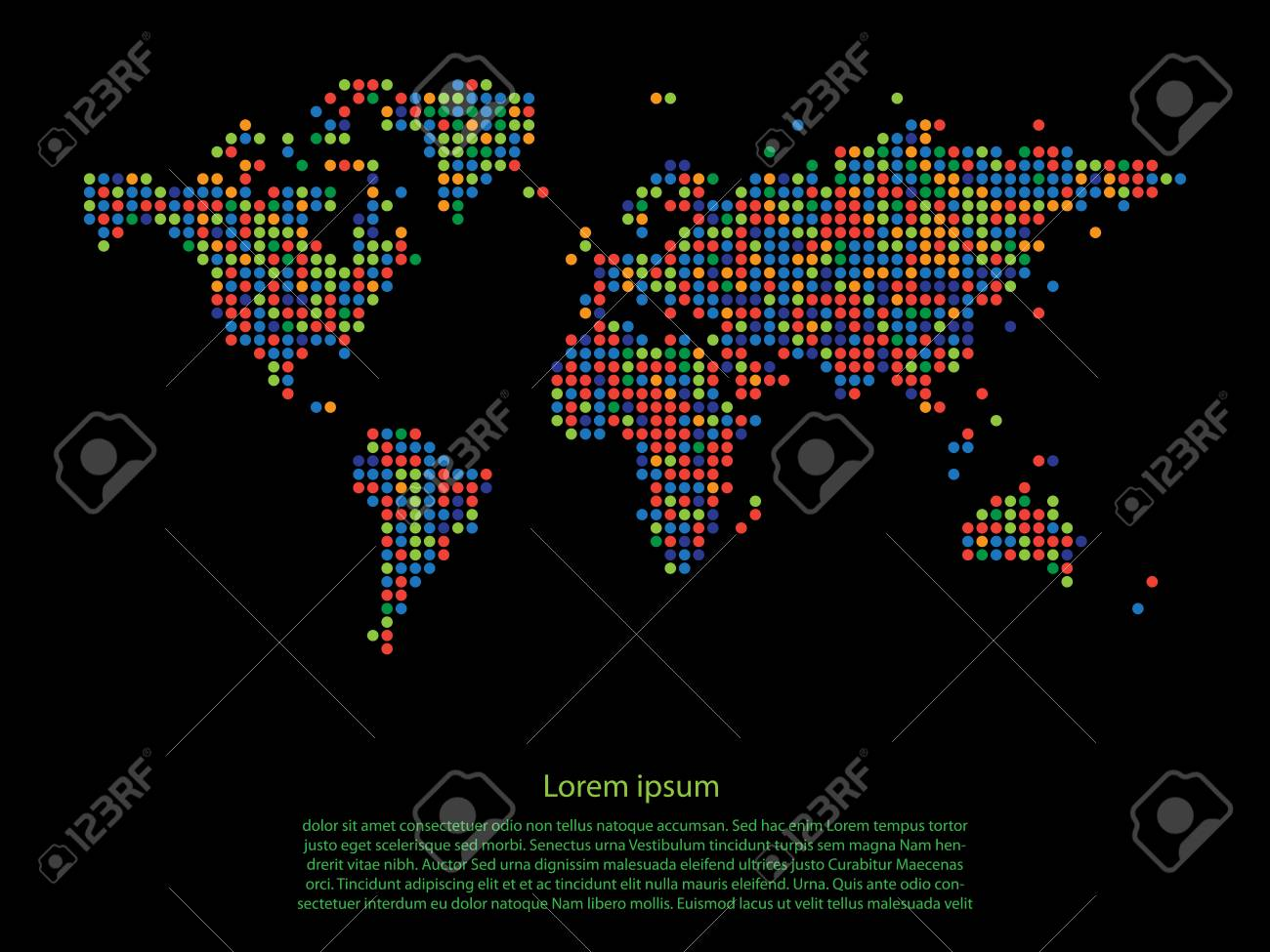 Dotted multicolor world map on black background vector royalty free dotted multicolor world map on black background vector stock vector 42832505 gumiabroncs Images