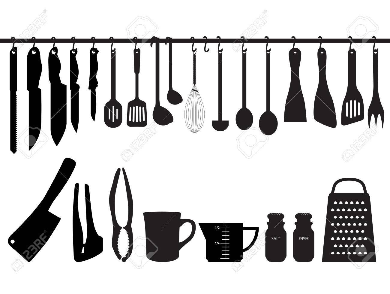 Une Collection D Ustensiles De Cuisine Accroche A La Barre Et Sous La Barre Silhouette Illustration