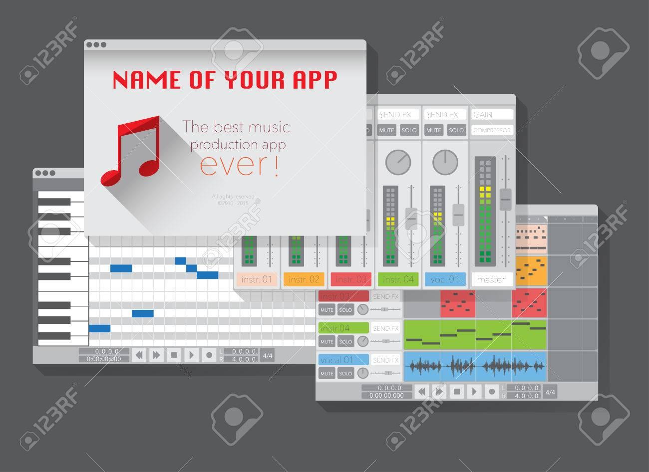 DAW, Music Production Software (digital Audio Workstation). Vector ...