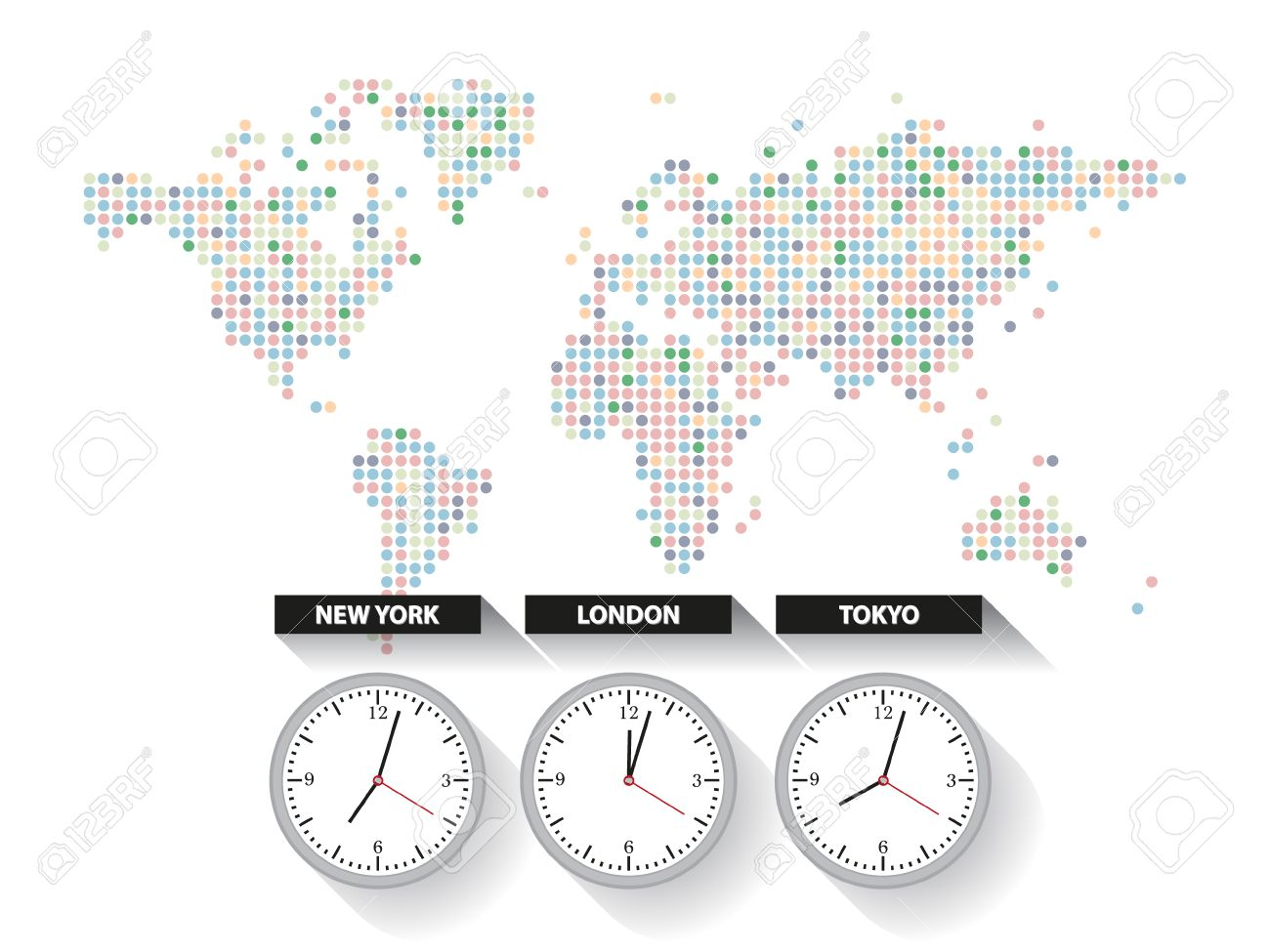 World Time. Dotted World Map With Different Time Zone Clocks Royalty ...