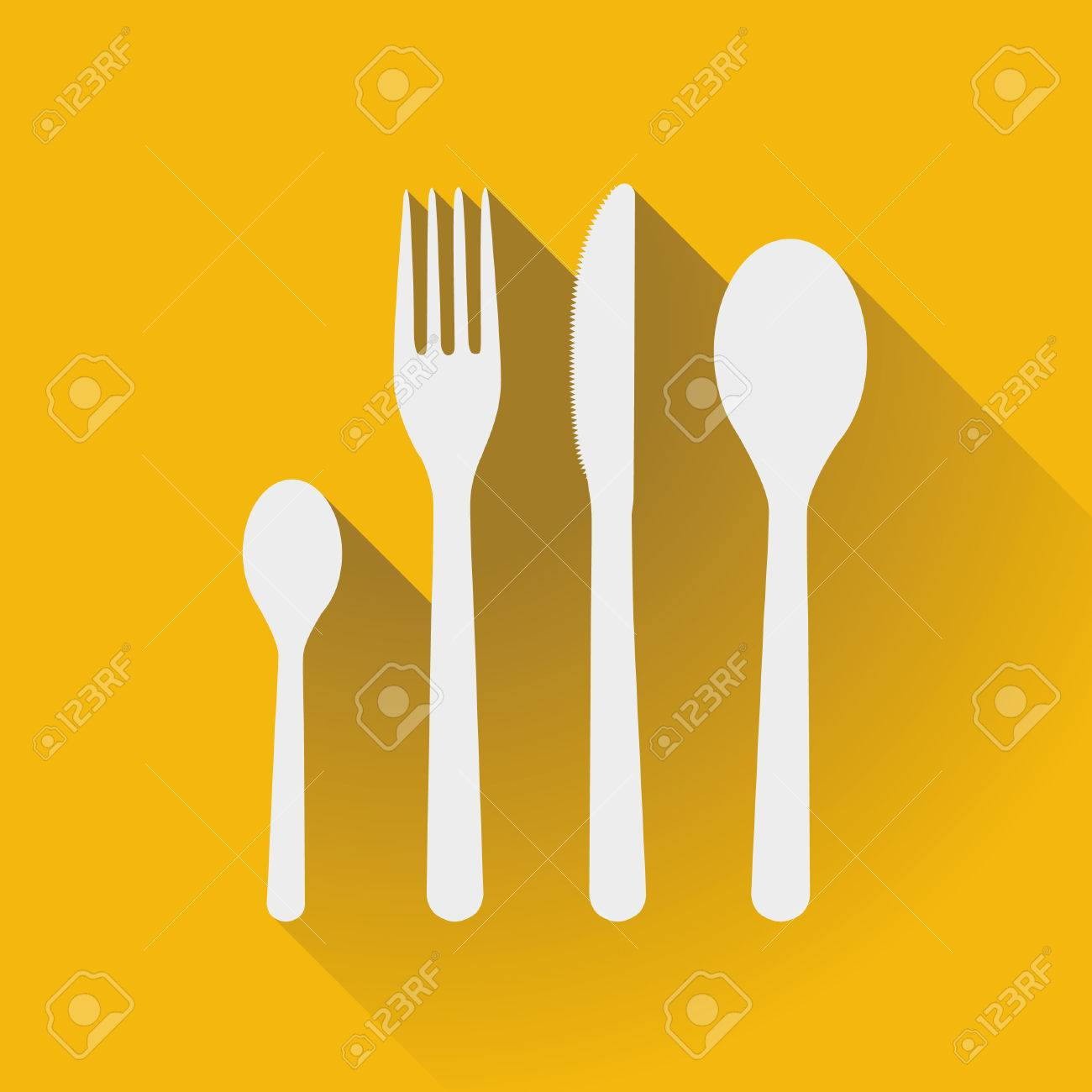Flatware - spoons, fork and knife in a flat design - 53173948