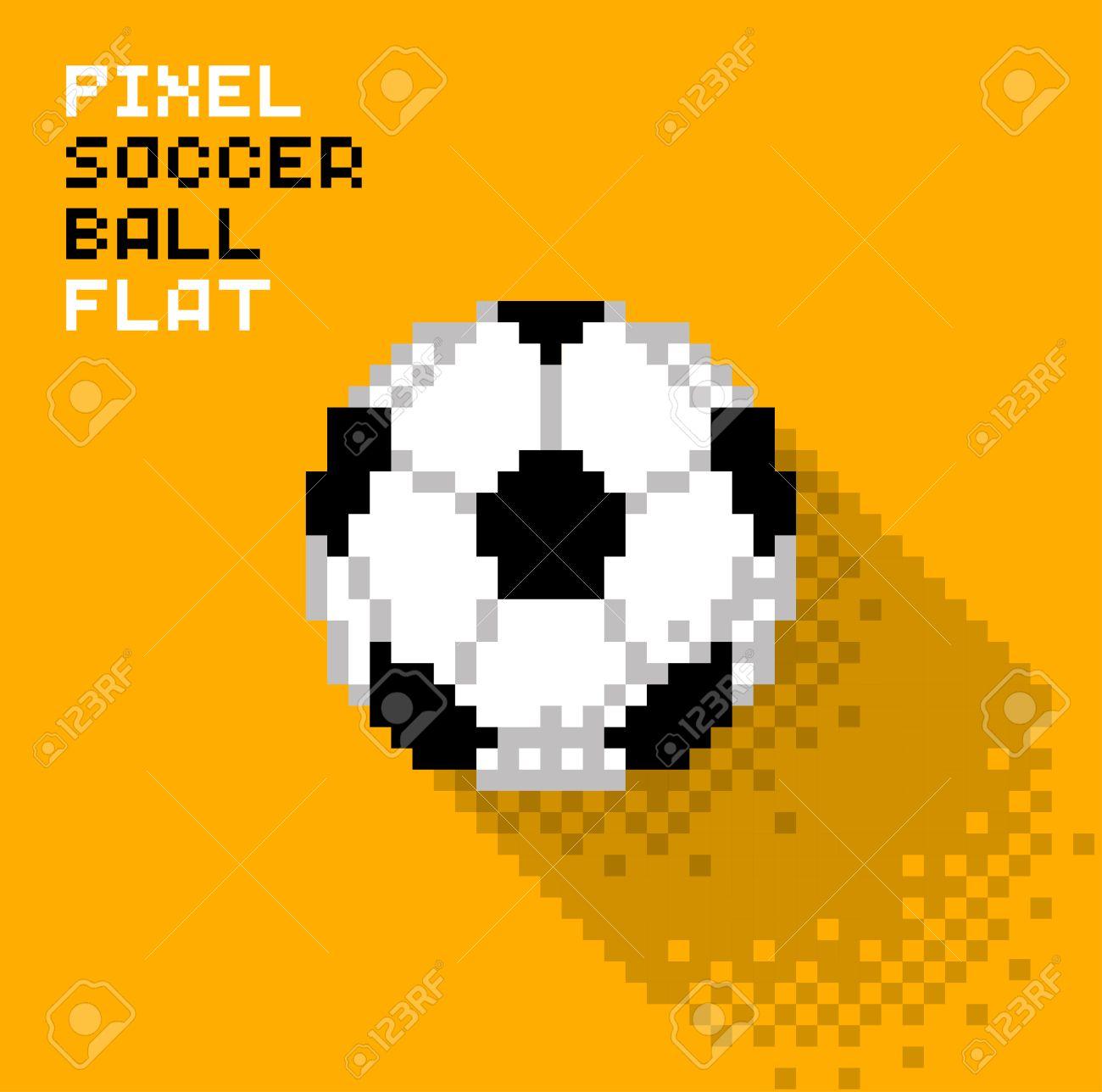 Ballon De Soccer De Pixel Dans Un Design Plat Illustration Pixellisée Illustration Vectorielle