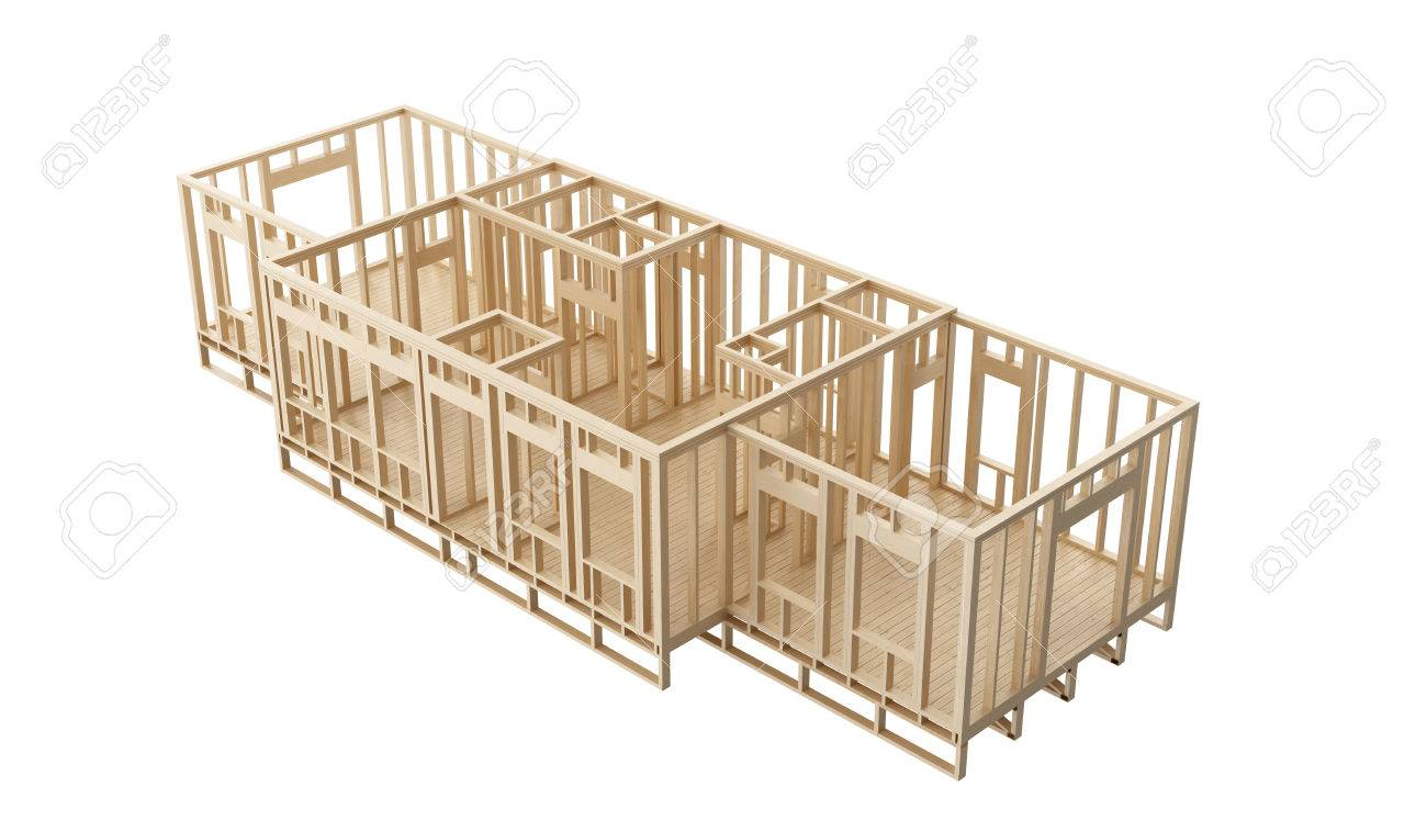 new construction home wooden framing walls and flroor on a white background stock photo 48653422