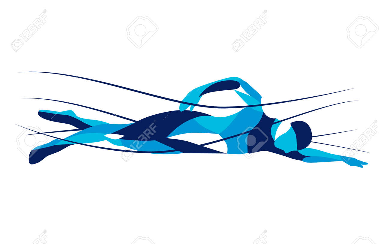Trendy stylized illustration movement, freestyle swimmer, line vector silhouette of freestyle swimmer. Sport swimming. - 61406407