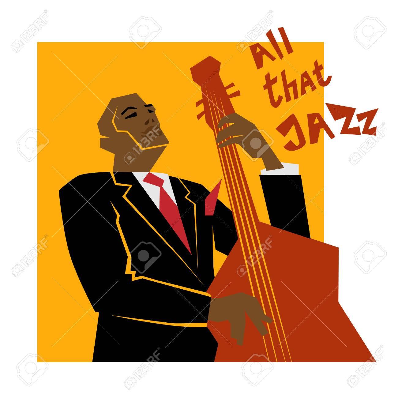 Retro Jazz Musik Konzept Kontrabass Mann Der Alten Schule