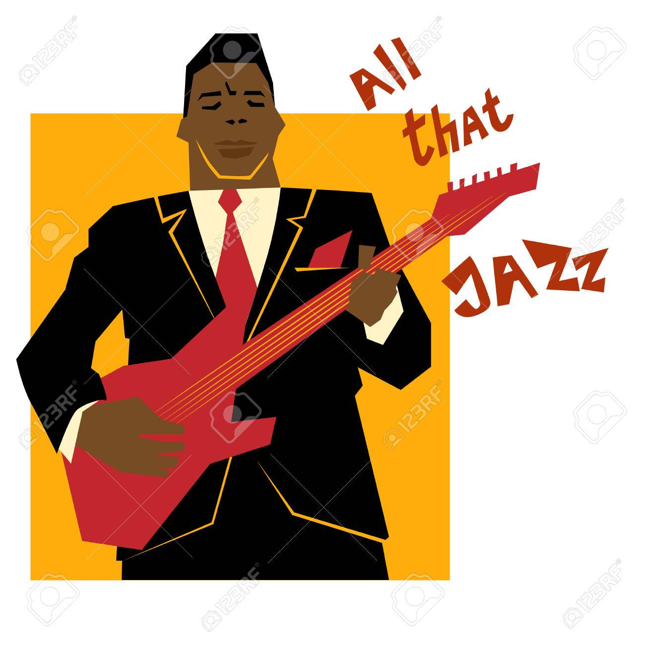 Retro Jazz Musik Konzept Gitarre Mann Der Alten Schule