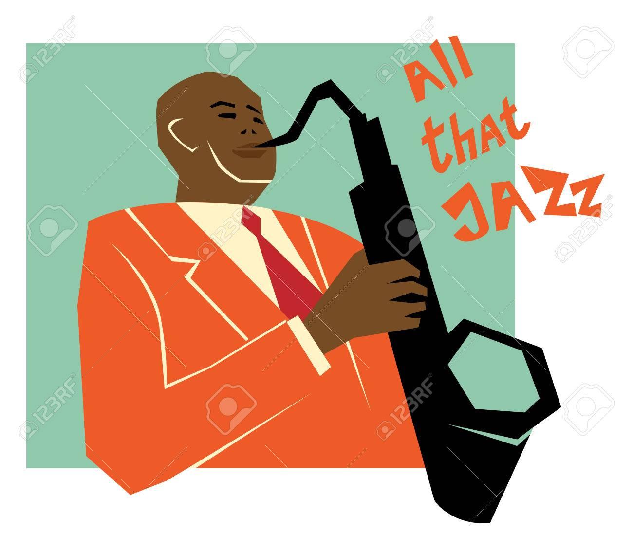 Retro Jazz Musik Konzept Saxophon Mann Der Alten Schule