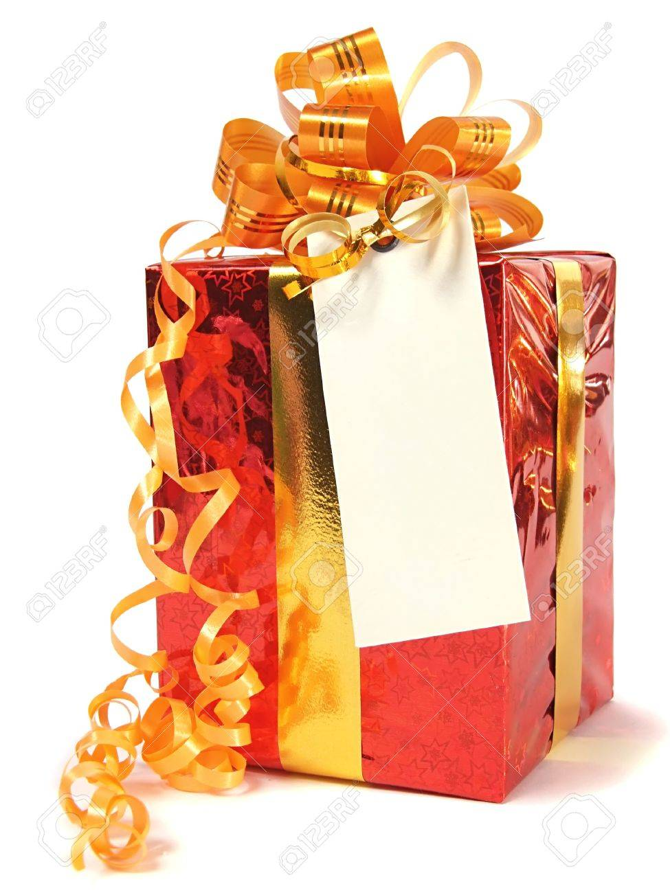 Red gift with blank tag over white Stock Photo - 7575222