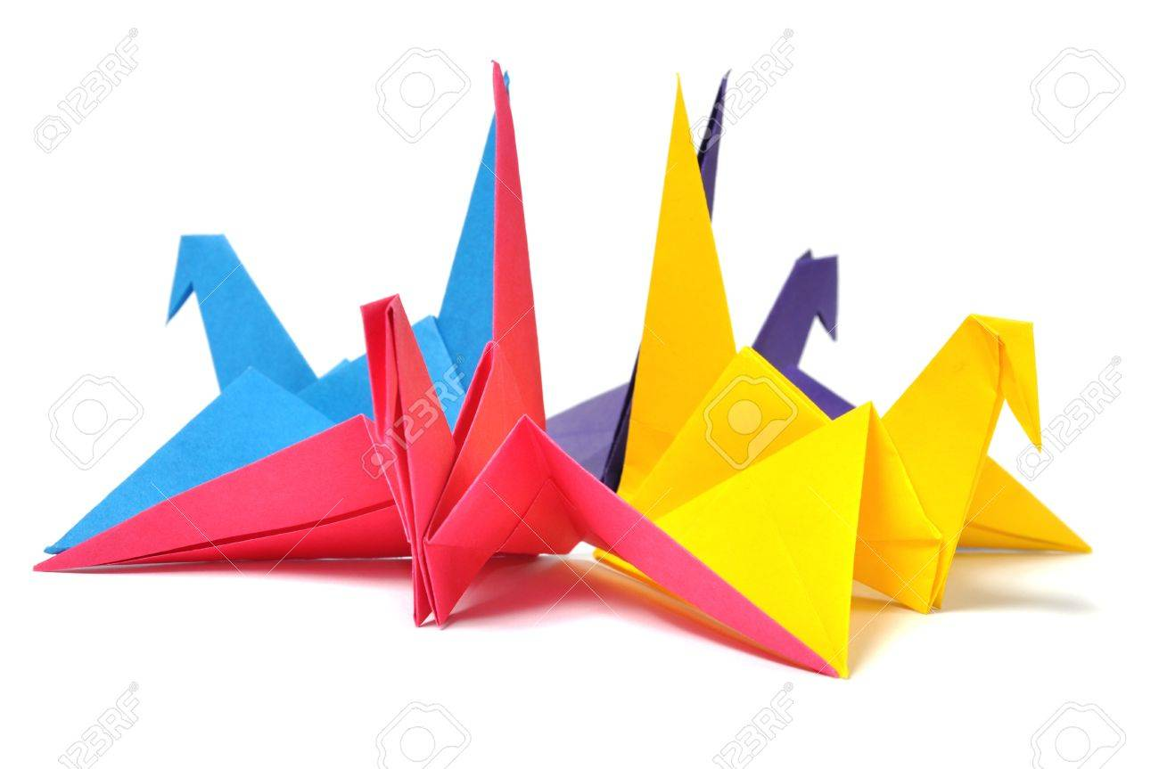 Origami cranes over white Stock Photo - 7607606