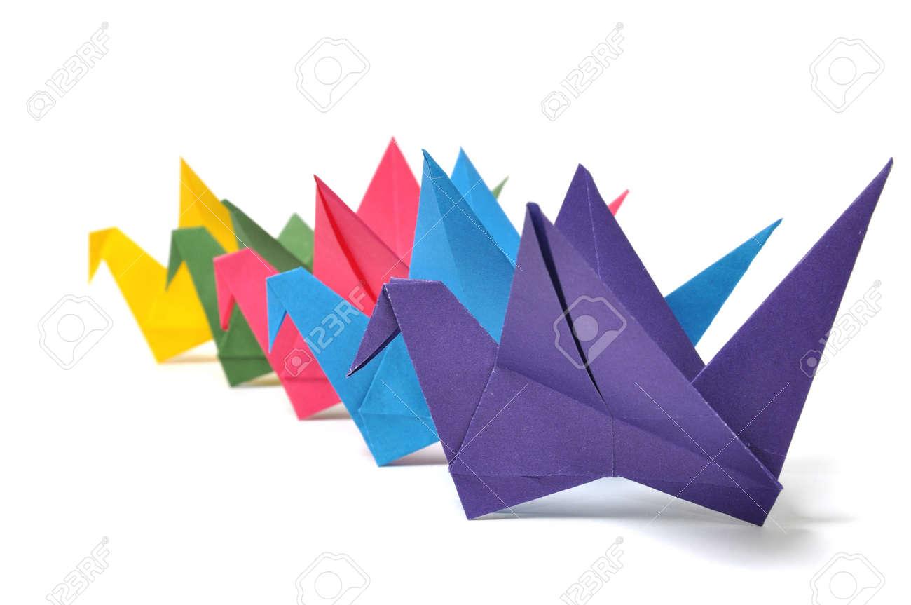Origami cranes over white Stock Photo - 8026642