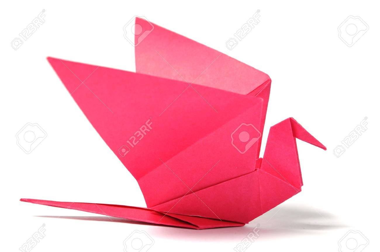 Origami bird over white Stock Photo - 8026684
