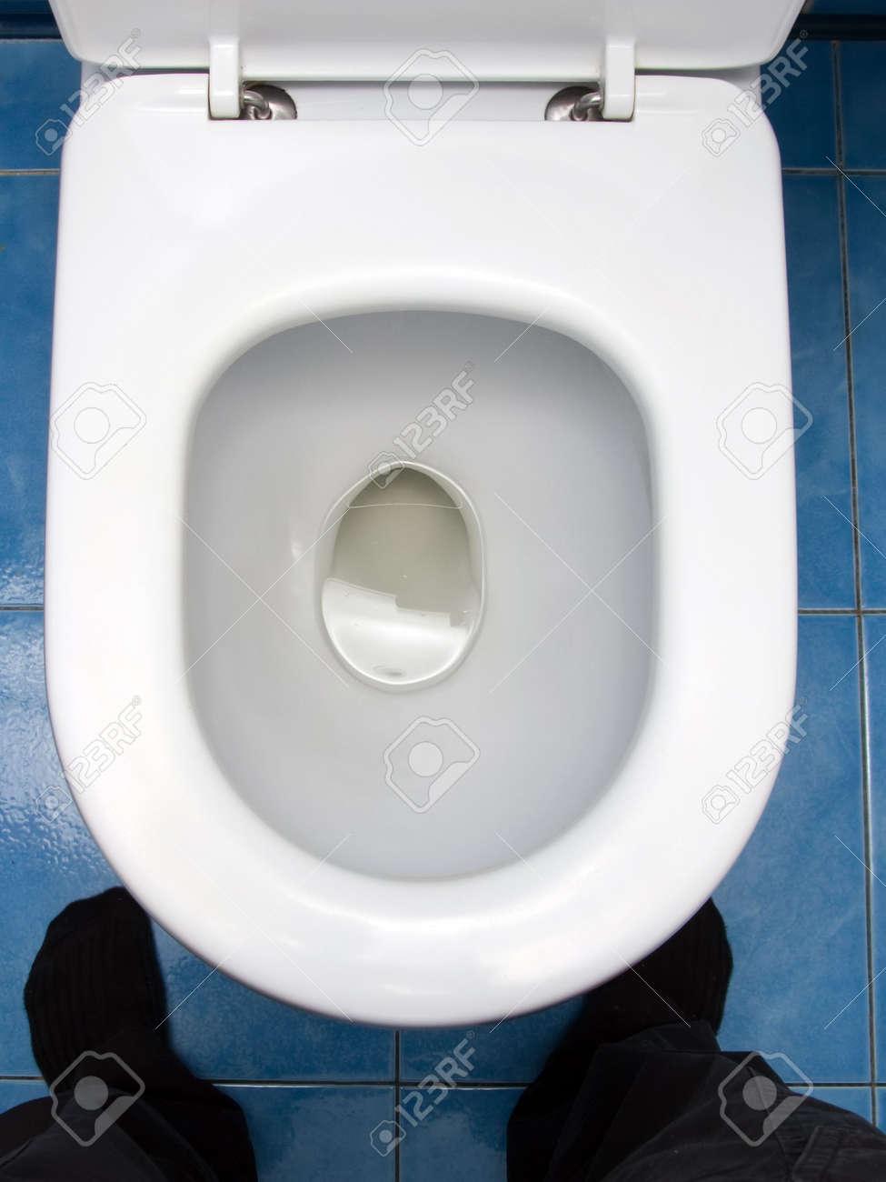Home interior clean toilet sink bowl on tile floor Stock Photo - 5597110