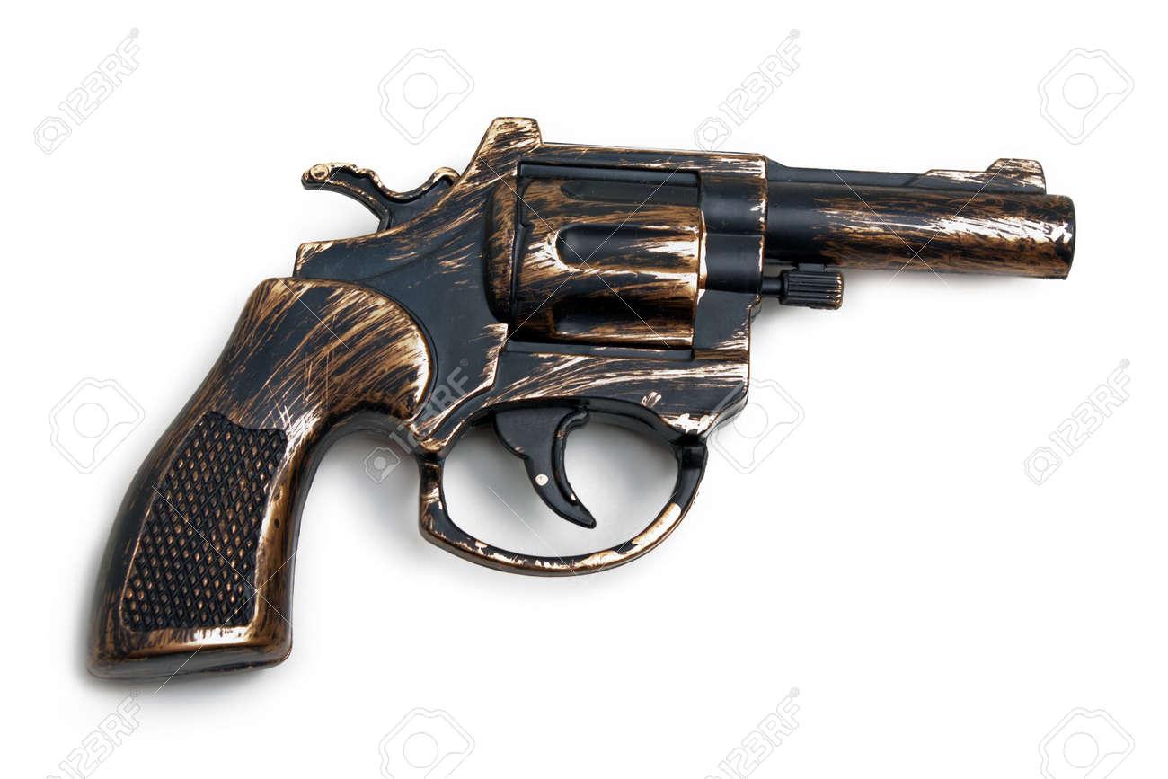 Handgun weapon - crime gun toy isolated on white Stock Photo - 5852538