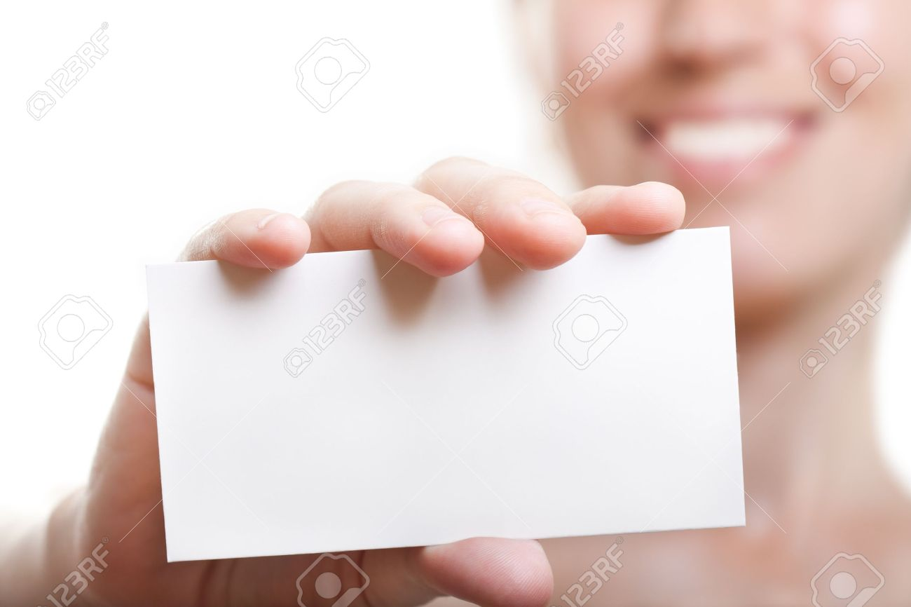 Human Hand Holding White Empty Blank Business Card Stock Photo ...