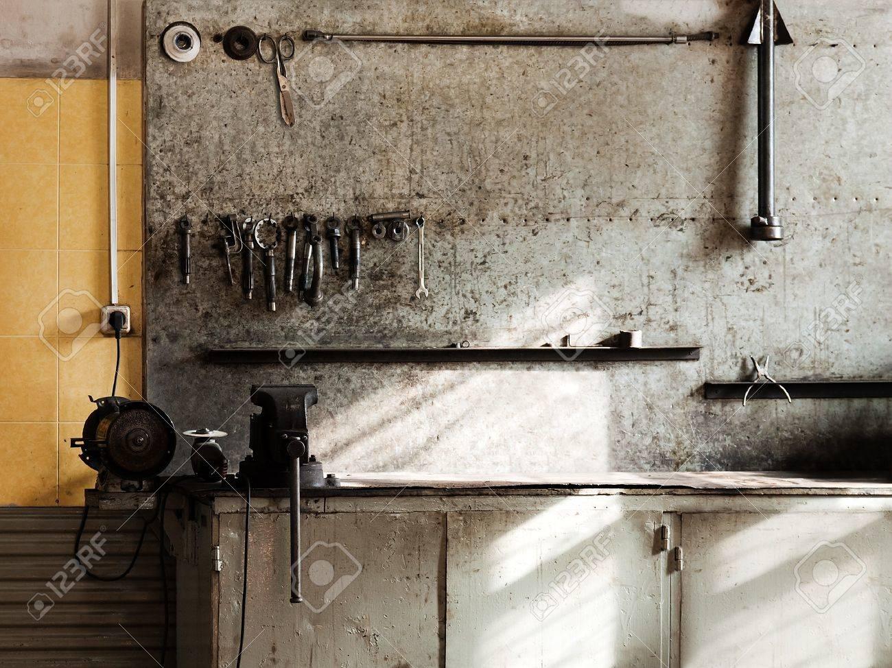Hand work repair equipment tool workshop workbench Stock Photo - 7817402