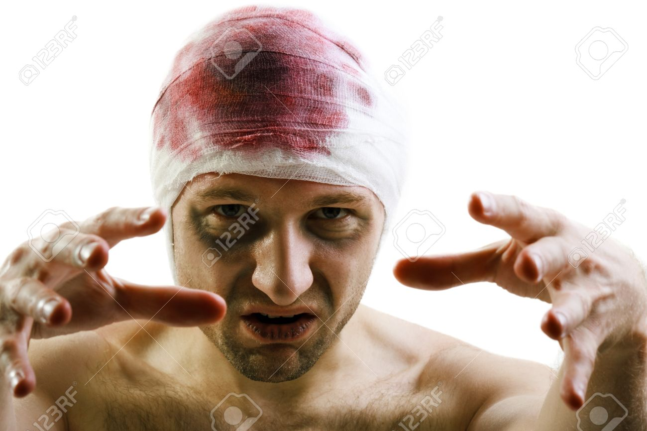 Bandage on human brain concussion blood wound head Stock Photo - 8456276