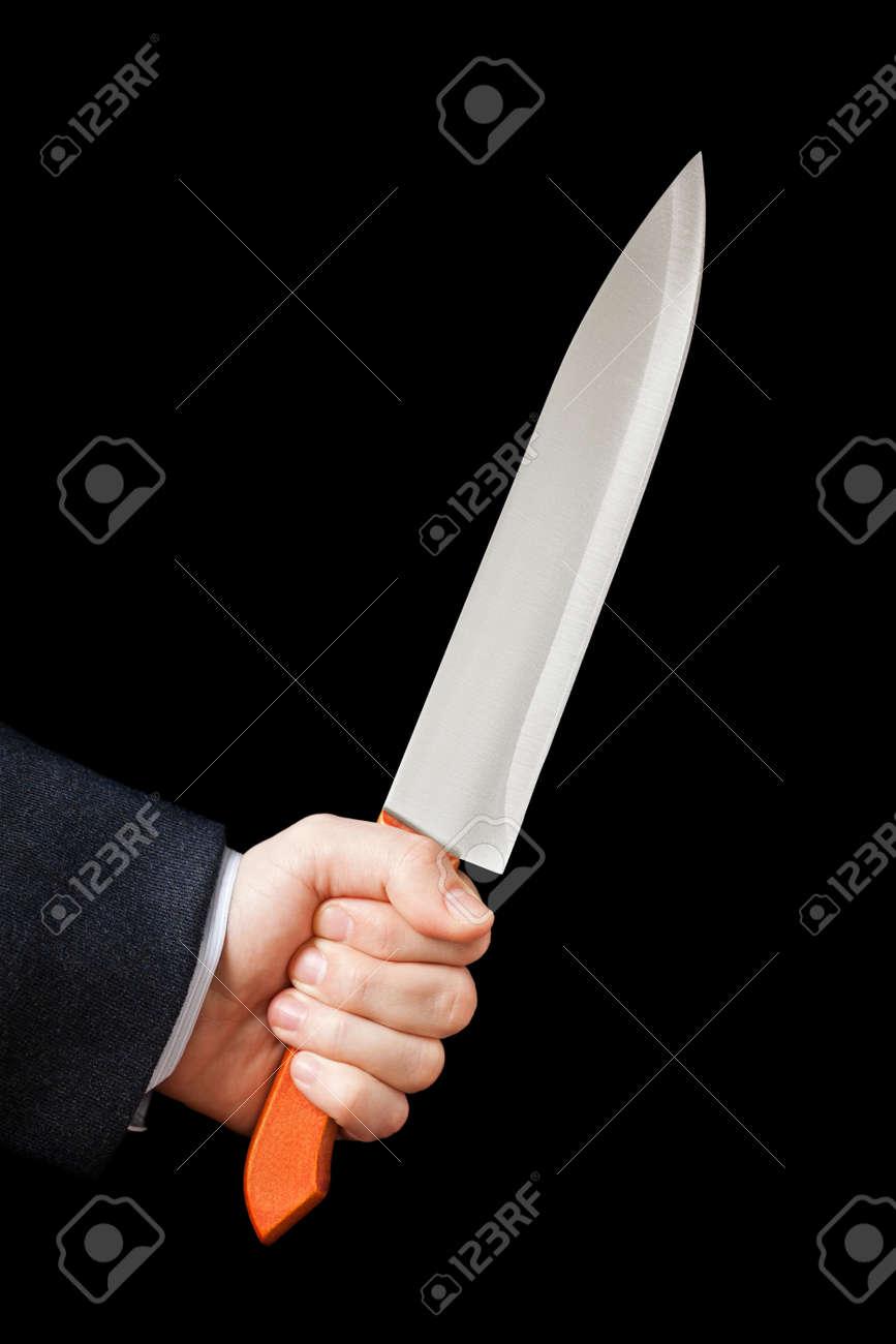 Murderer Geschaftsmann Hand Scharfen Stahl Kuchenmesser Waffe