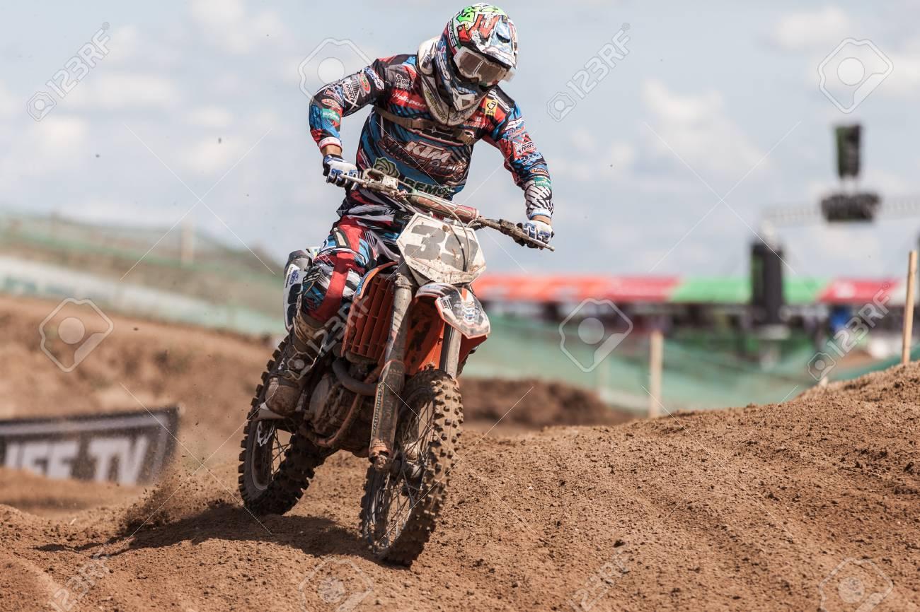 SEMIGORJE, RUSSIA - JULY 22: Grand Prix of Russia of FIM Motocross World Championship MX1 and MX2 Series on July 22, 2012 in Semigorje, Russia Stock Photo - 14542360