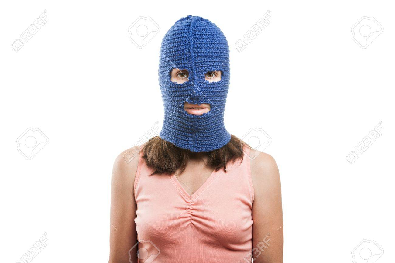 Russian protest movement concept - woman wearing balaclava or mask on head white isolated Stock Photo - 14965984