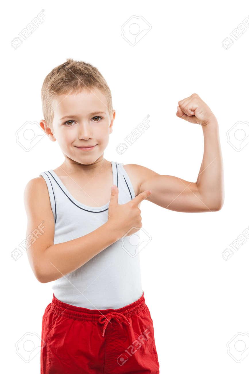 Schönheit Lächelnd Sport Kind Junge Zeigt Seine Hand Bizeps Muskeln ...