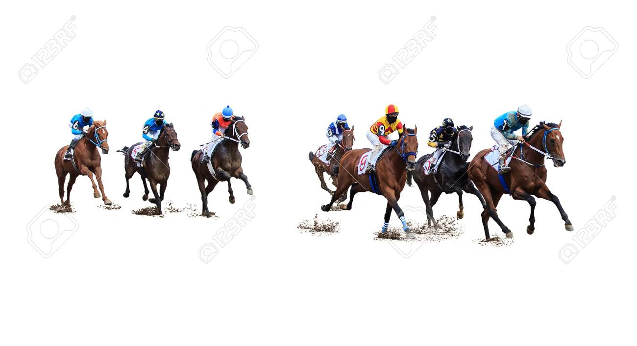 Jockey Horse Racing Isolated On White Background Stock Photo Picture And Royalty Free Image Image 136452790