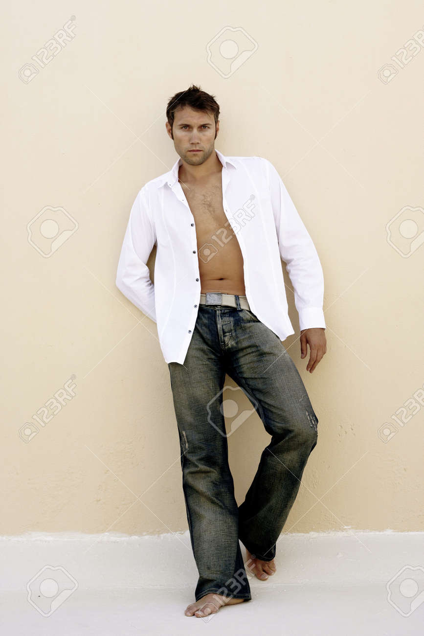 Tanned Male With White Open Shirt Stock Photo, Picture And Royalty ...