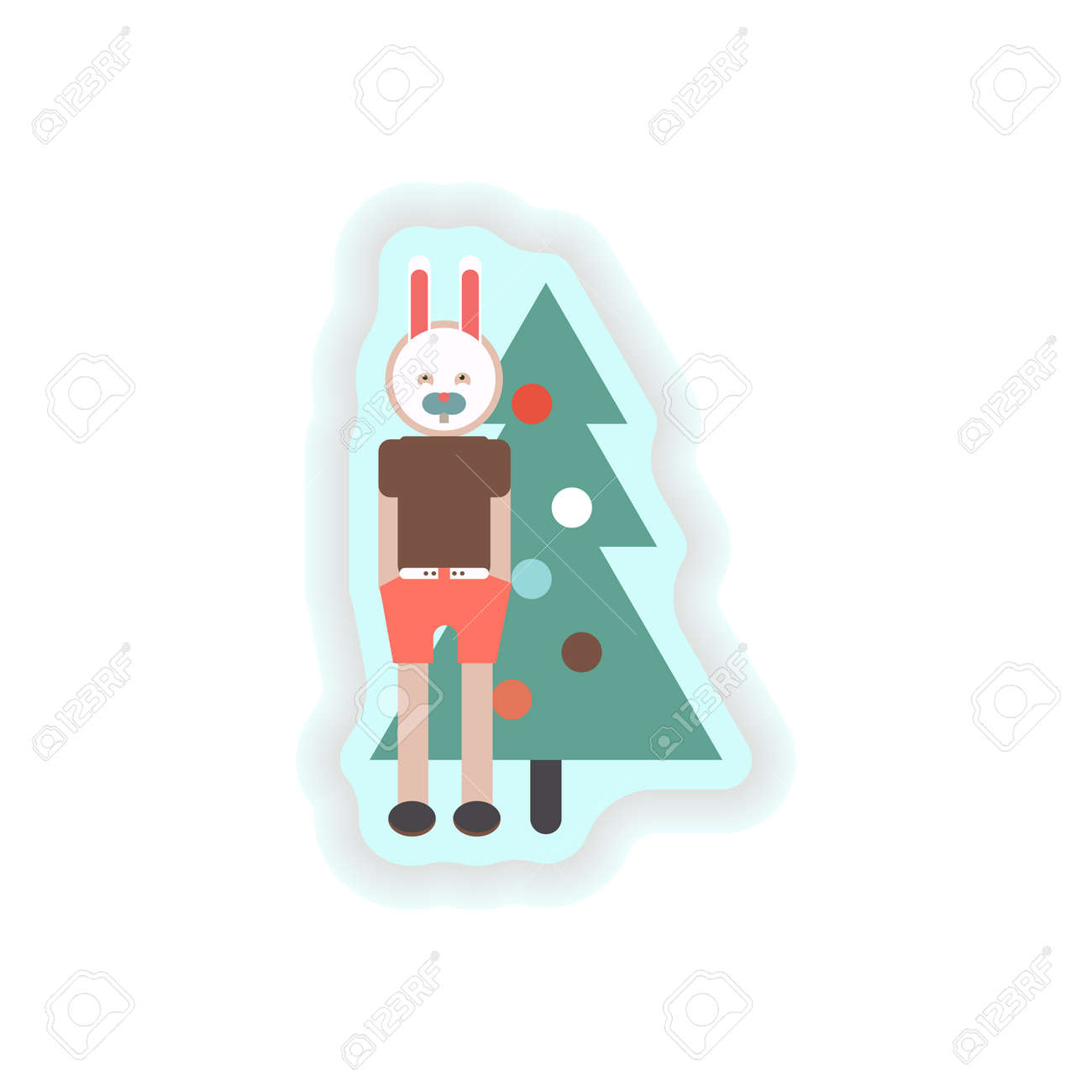 Stilvolle Papieraufkleber Auf Weißem Hintergrund Weihnachtskarneval ...