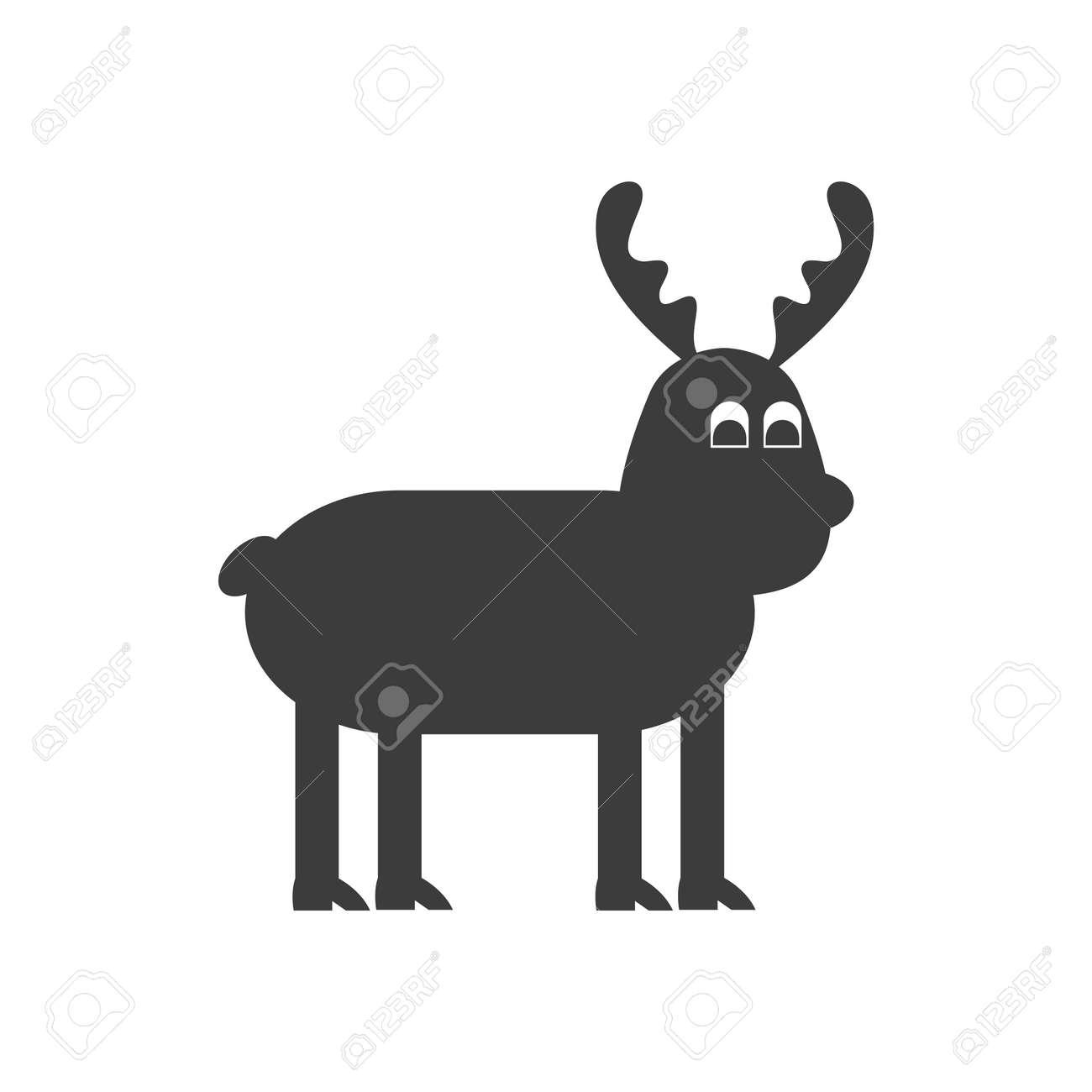 Icône Plate Dans Le Style Noir Et Blanc Renne De Noël