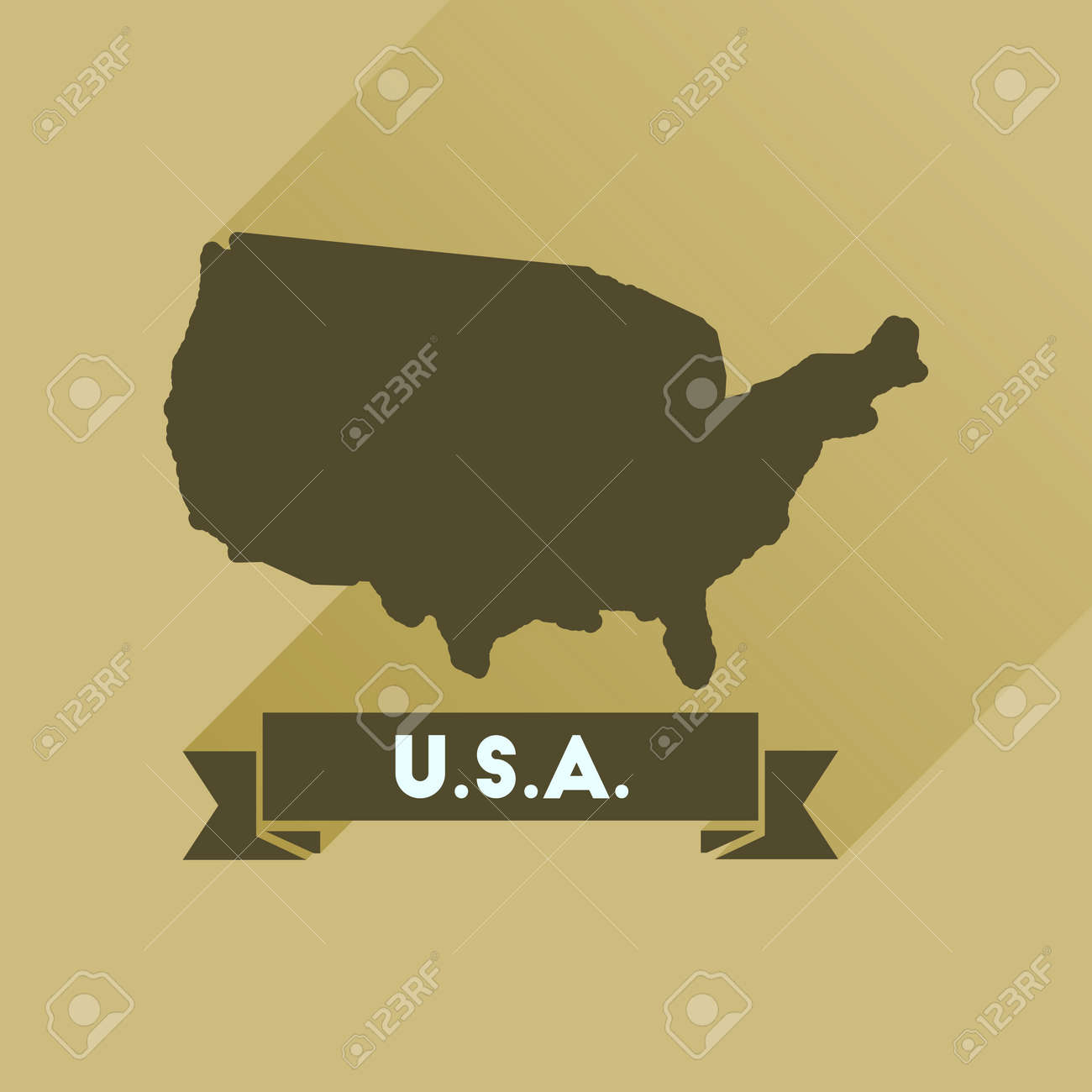Flat Icon With Long Shadow United States Map Royalty Free Cliparts - Free united states map graphic