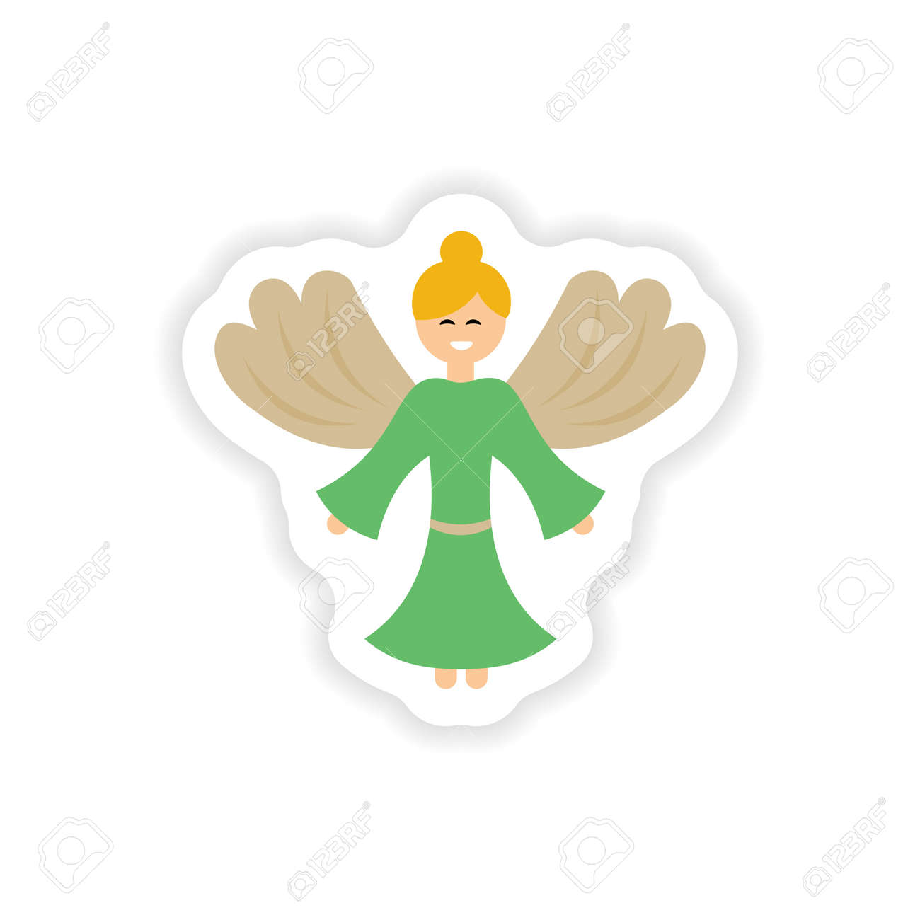 Paper Sticker On White Background Christmas Angels Royalty Free ...