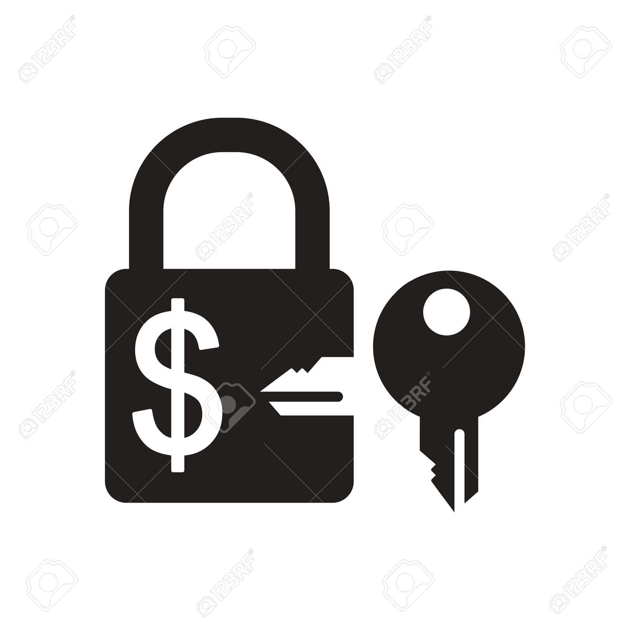 Flat Icon In Black And White Lock Key Money Royalty Free Cliparts ... for Lock And Key Clipart Black And White  157uhy