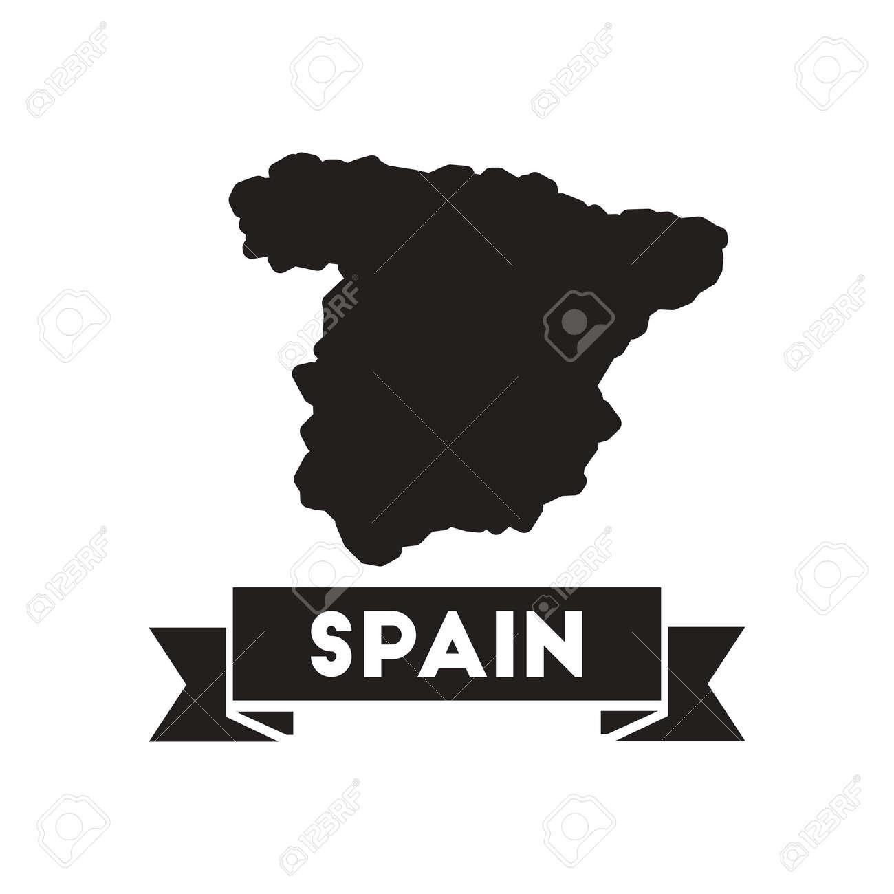 Spanien Karte Schwarz Weiß.Stock Photo